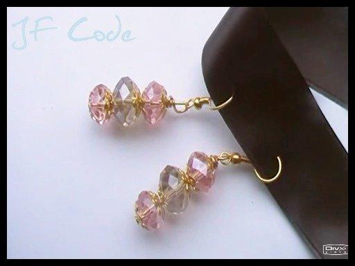 Orecchini pendenti oro/rosa/rosa antico