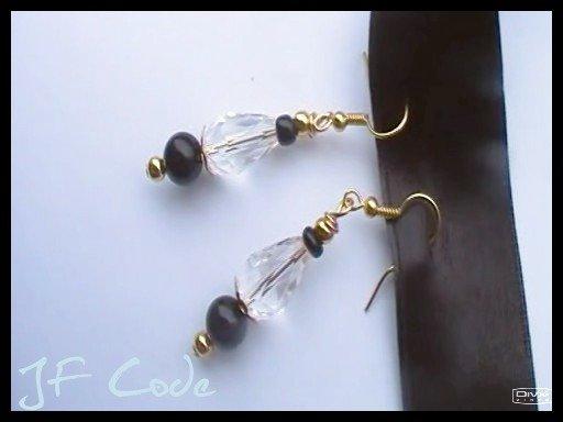 Orecchini pendenti oro/nero/vetro