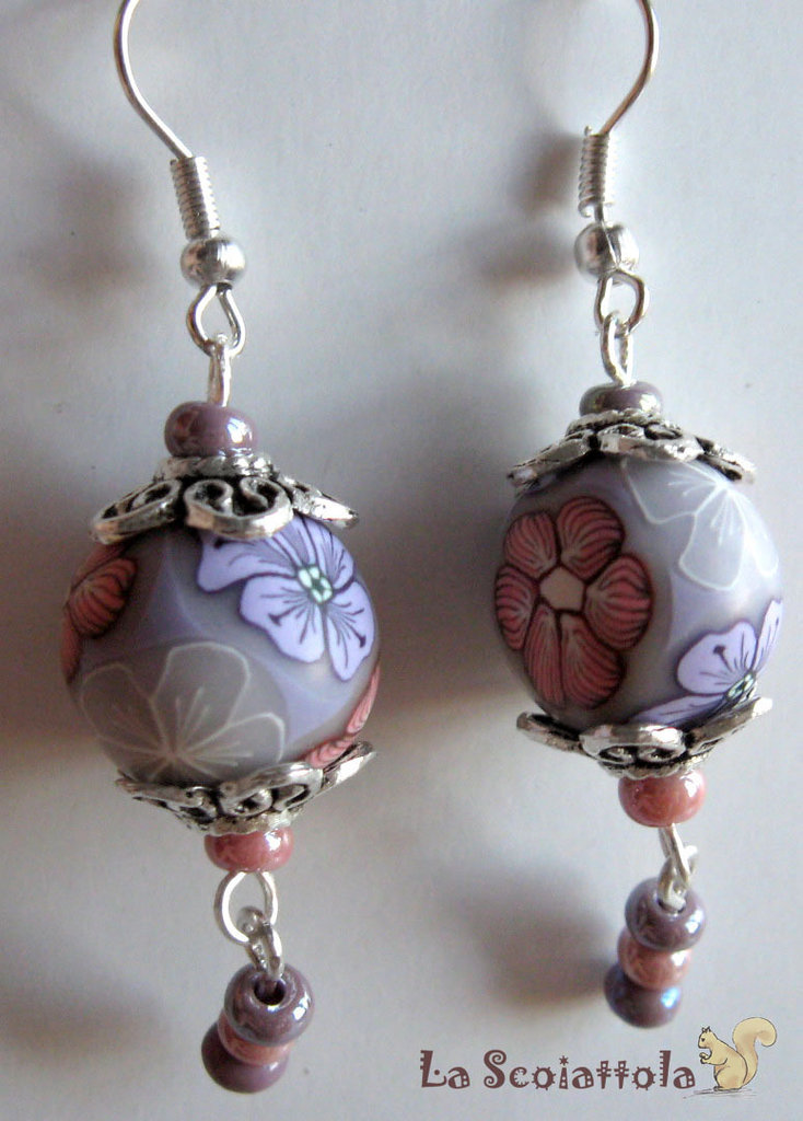 Orecchini lilla e rosa #042