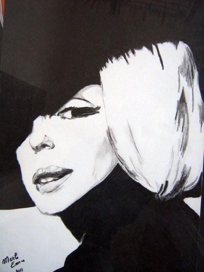 BLACK MARYLIN, no stampa, dipinto a mano 33x48 cm