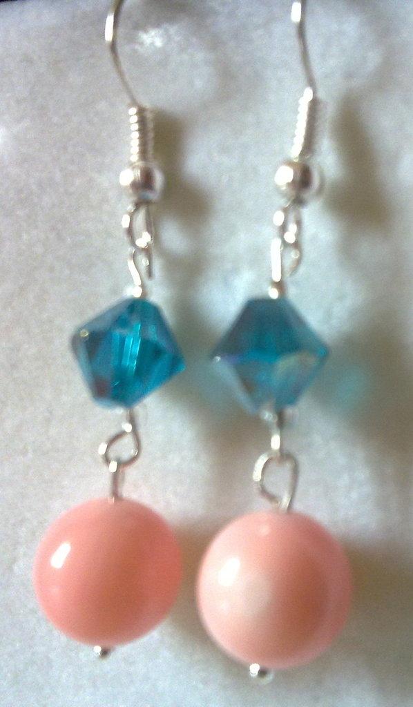 orecchini bigiotteria azzurri e rosa