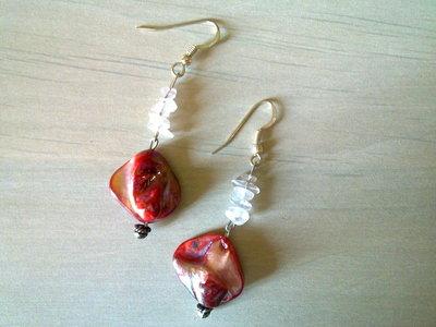 orecchini bigiotteria madreperla rosa