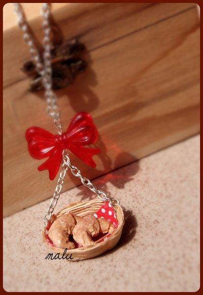 Collana Cestino con Croissants ♥ rosso e pois ♥