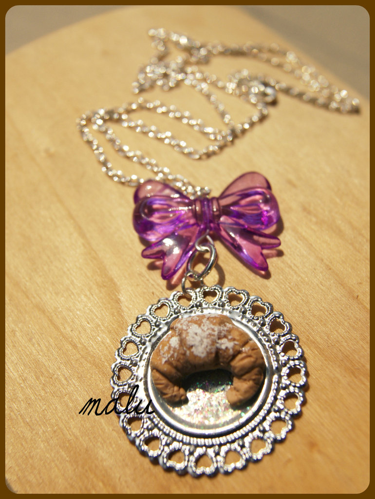 collana Croissant e fiocco violetto ♥