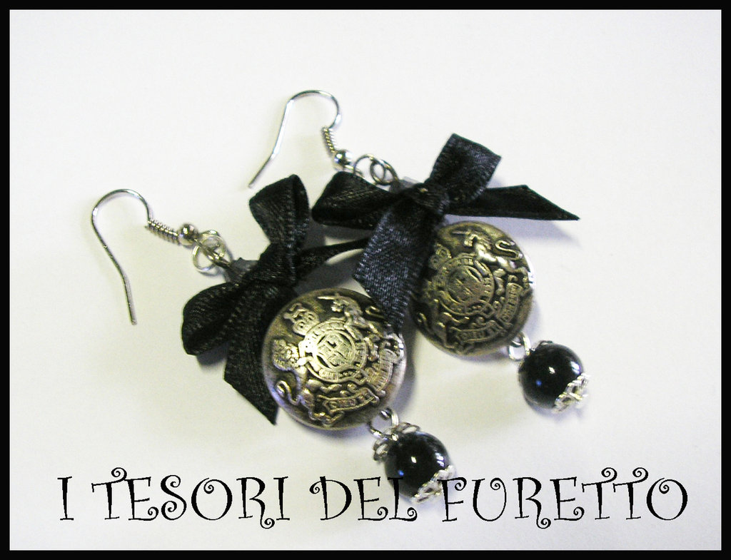 Orecchini Vintage Retrò Bottoni metallo charm Nero