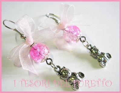 Orecchini ORSETTI charm fiocchetti romantici bear earring