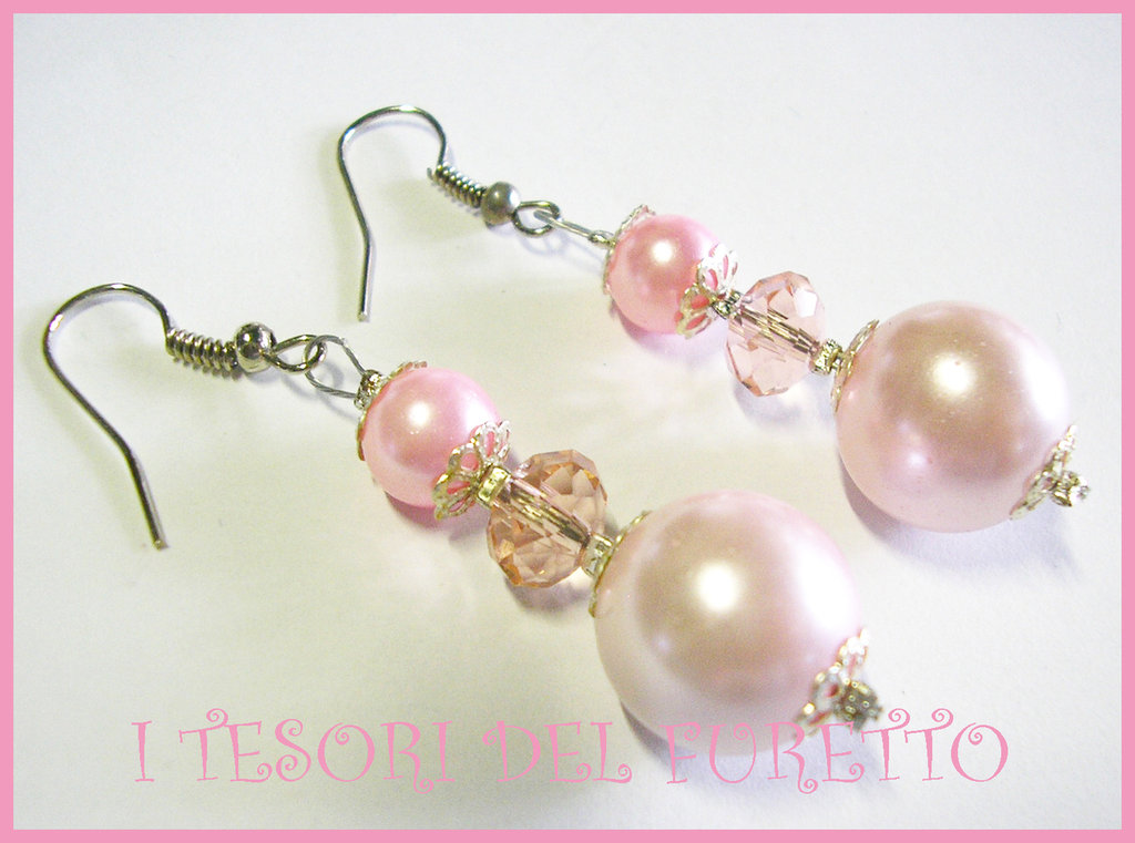 Orecchini perle Vintage eleganti Retrò ROSA