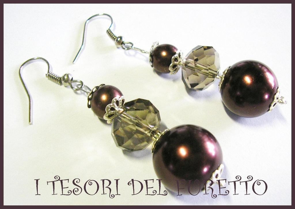 Orecchini perle Vintage eleganti Retrò CIOCCOLATO