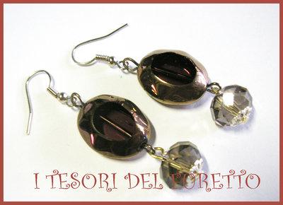 Orecchini Perle Vetro Eleganti Cioccolato