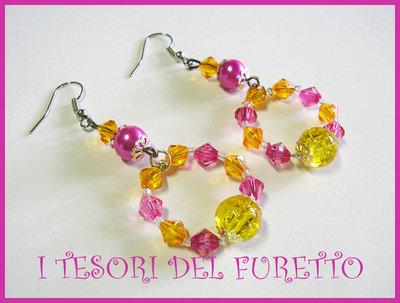 Orecchini Cavetto perle estate 2011  Fucsia Arancio