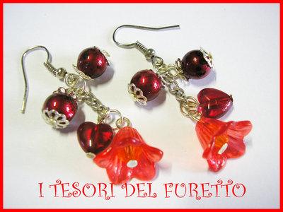 """Orecchini """"Summer Flowers"""" fiori lucite Rosso"""