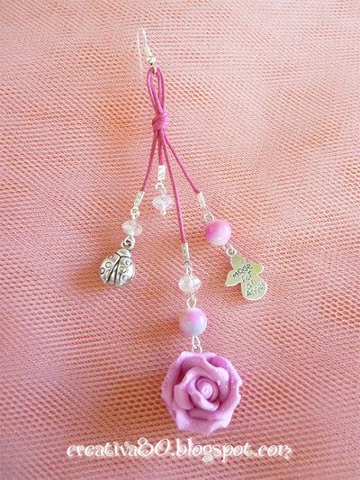 Mono orecchino multicharm rosa