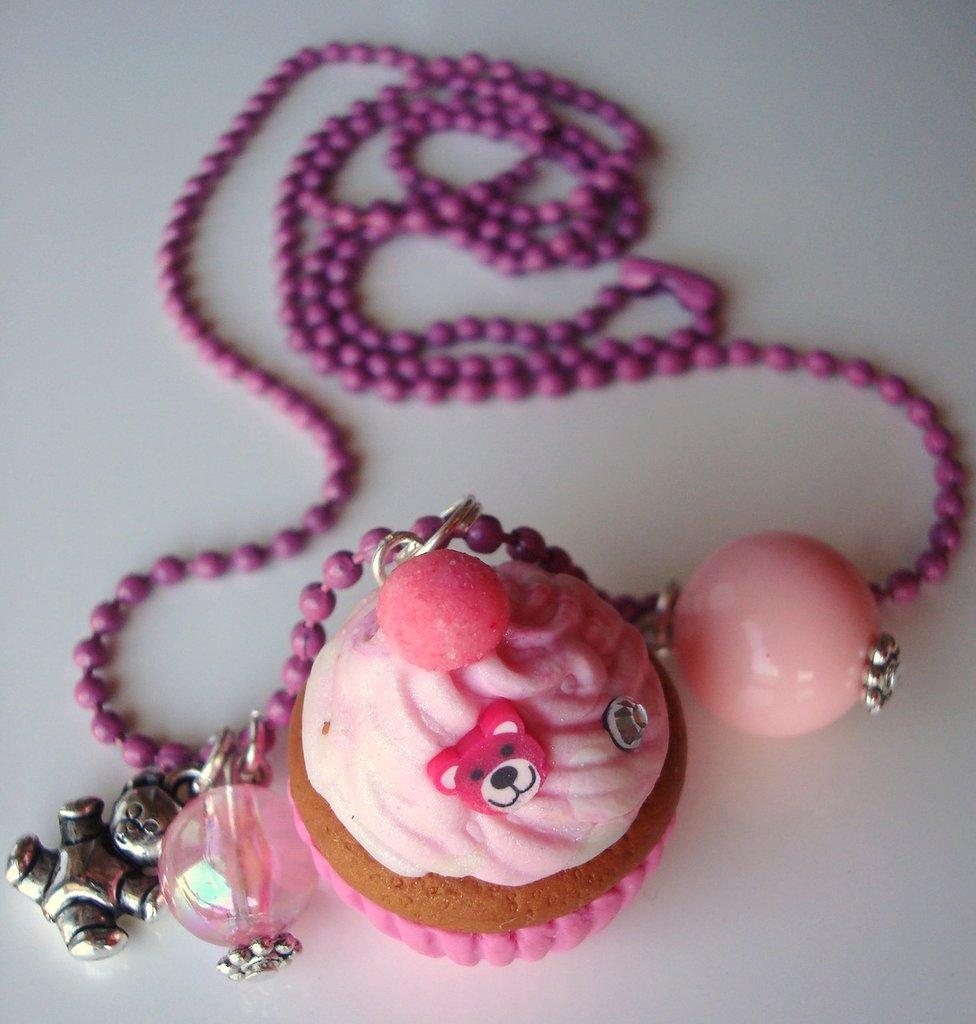 collana cupcake kawaii rosa