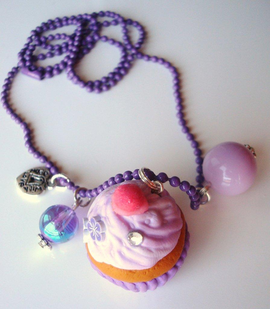 collana kawaii cupcake viola