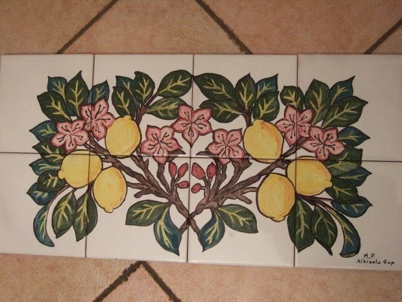 Pannello piastrelle dipinte a mano stile art deco limoni - Piastrelle decorate a mano ...