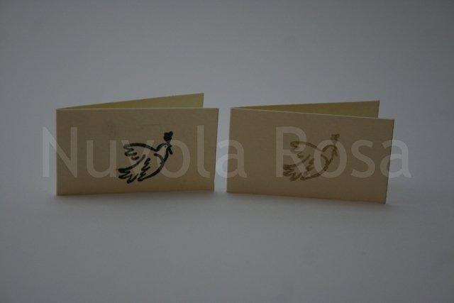 Bigliettino bomboniera comunione con colomba con ulivo