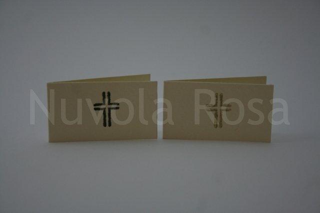 Bigliettino bomboniera comunione con croce doppia