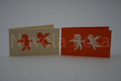 Bigliettino bomboniera arancio con angeli