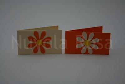 Bigliettino bomboniera arancio con fiore