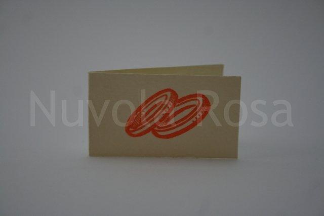 Bigliettino bomboniera arancio con fedi