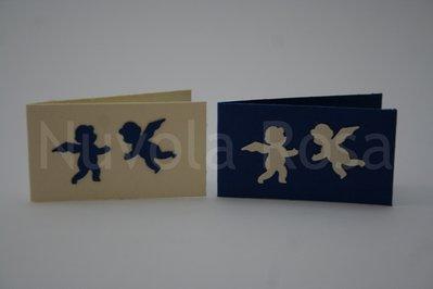 Bigliettino bomboniera blu con angeli
