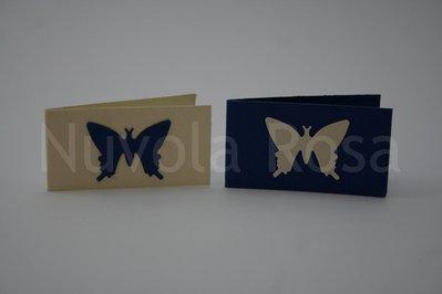 Bigliettino bomboniera blu con farfalla