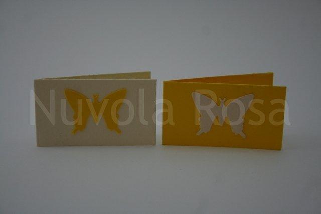 Bigliettino bomboniera giallo con farfalla
