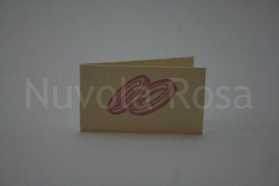Bigliettino bomboniera lilla con fedi