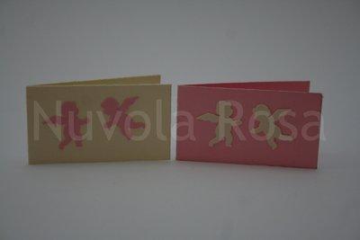 Bigliettino bomboniera rosa con angeli