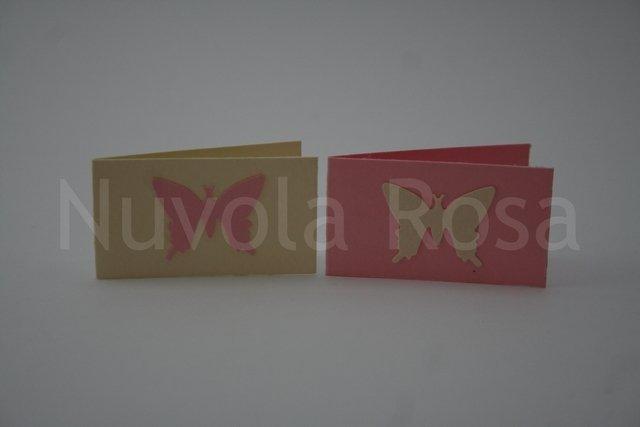 Bigliettino bomboniera rosa con farfalla