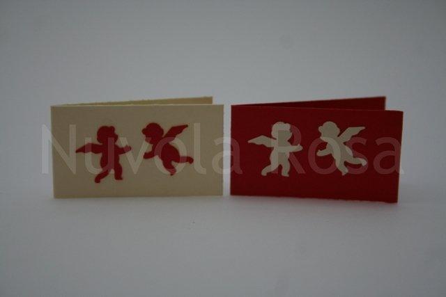 Bigliettino bomboniera rosso con angeli