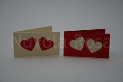 Bigliettino bomboniera rosso con cuori