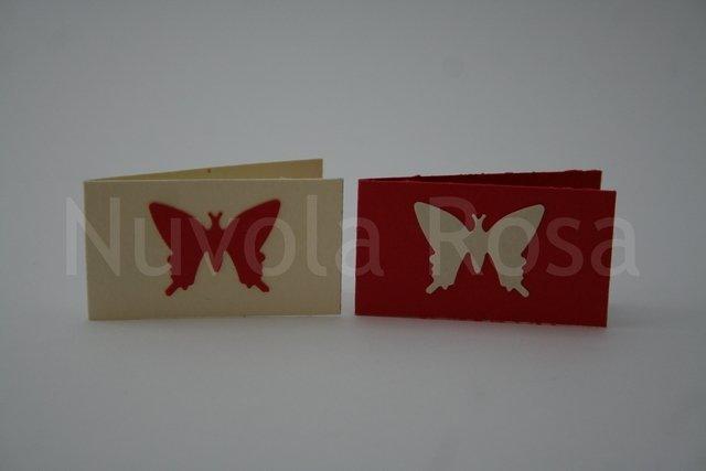Bigliettino bomboniera rosso con farfalla
