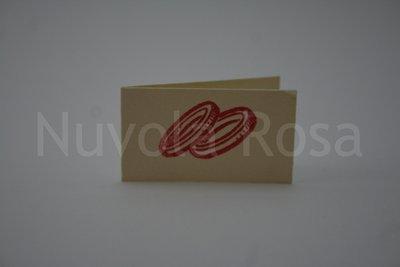 Bigliettino bomboniera rosso con fedi