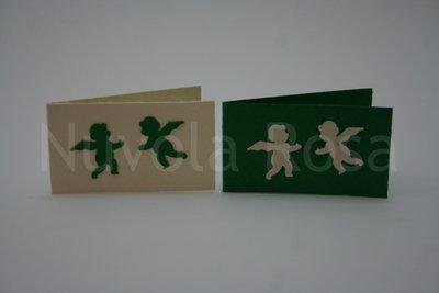 Bigliettino bomboniera verde con angeli