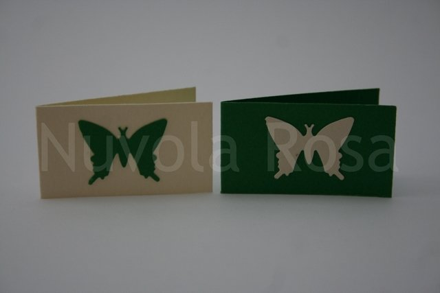 Bigliettino bomboniera verde con farfalla