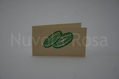 Bigliettino bomboniera verde con fedi