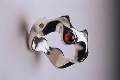 Sea slug Stone + cz Ring