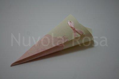 Coni riso matrimonio rosa con fiocchetto e carta riso