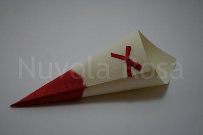 Coni riso matrimonio rosso con fiocchetto e carta riso