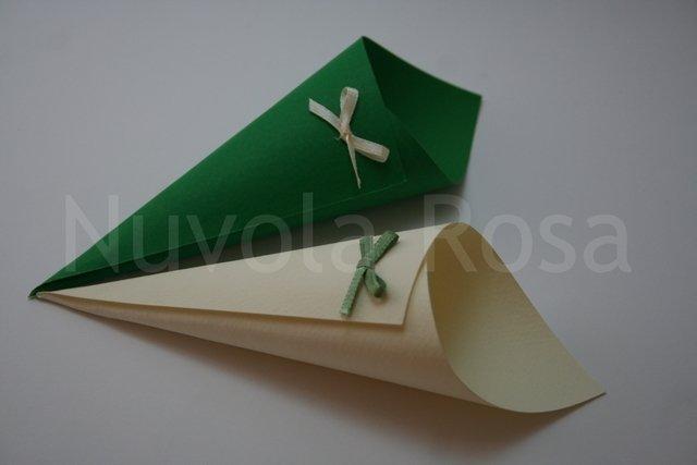 Coni riso matrimonio verde con fiocchetto