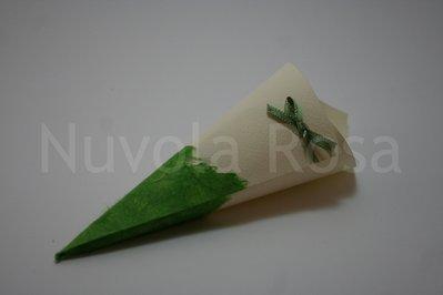 Coni riso matrimonio verde con fiocchetto e carta riso