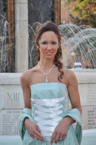 Abito Sposa verde acqua tg 44 + gioiello
