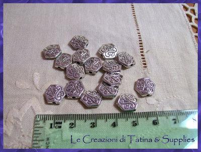 10 x spaziatori argento tibetano