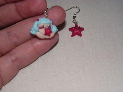 orecchini con bambina e stellina in fimo