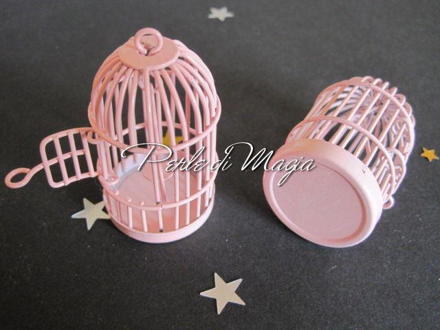 Gabbietta in metallo rosa