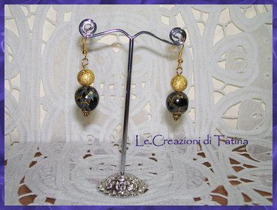 orecchini in fimo e perle gold