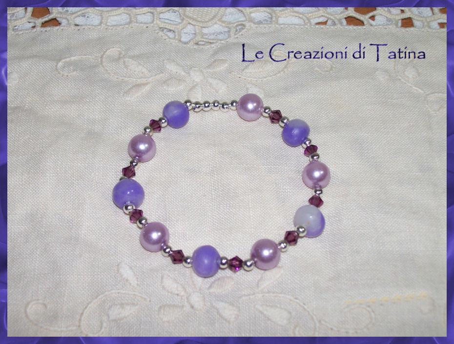 Bracciale perle in fimo Viola