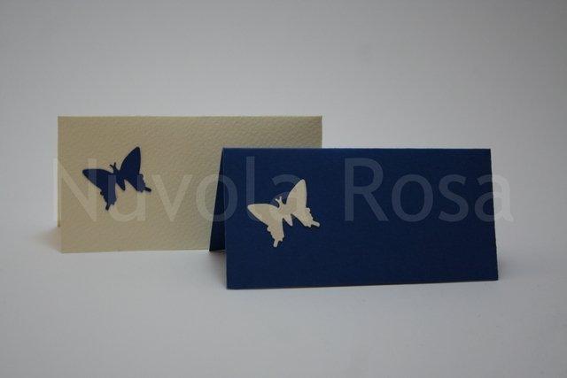Segnaposto matrimonio blu con farfalla
