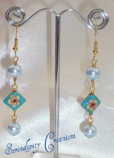 Orecchini Cloisone e Perle Azzurre